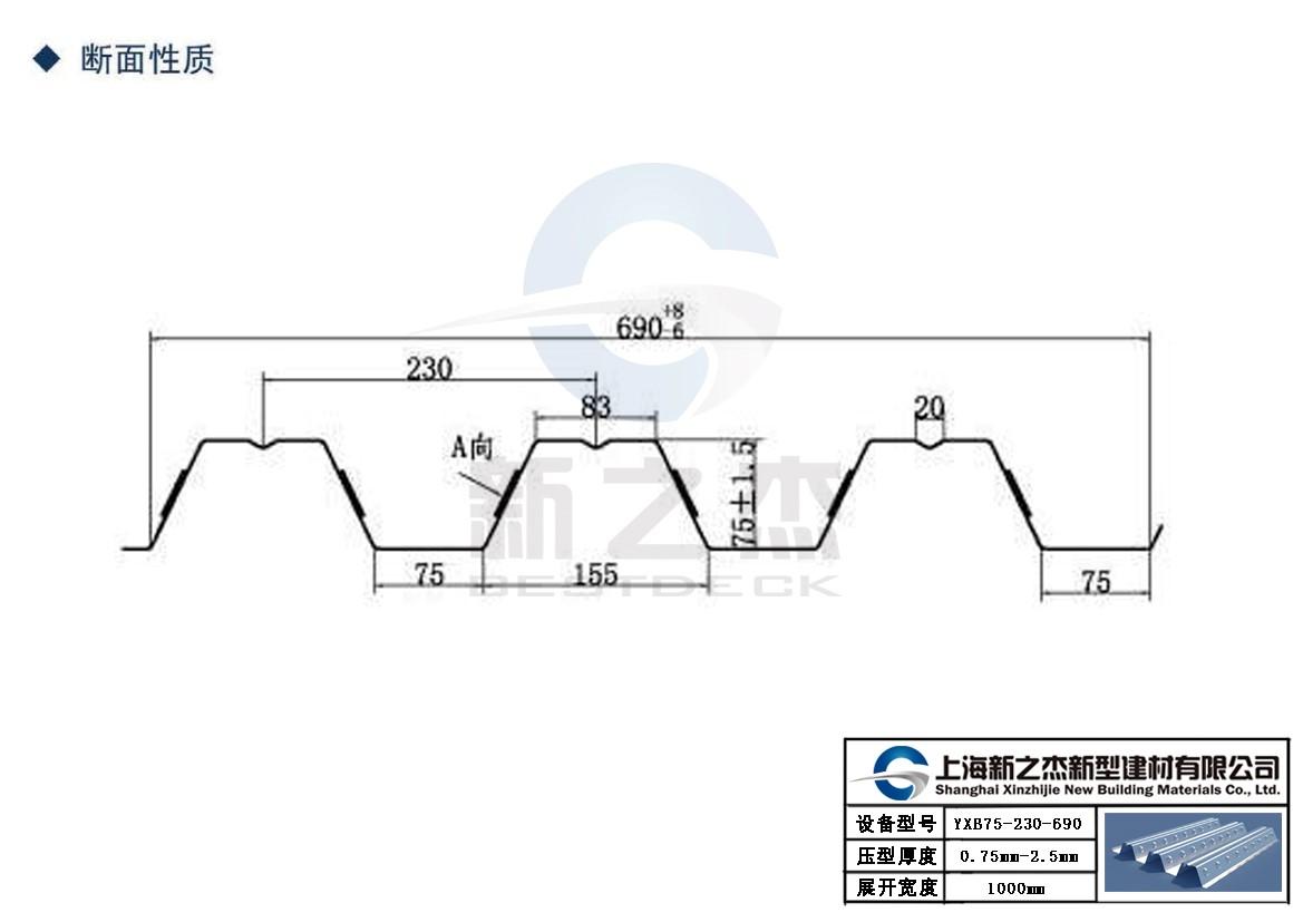 新之杰YXB75-230-690开口压型钢板板型图.jpg